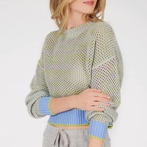 Lime + Lavender Mesh Knit Sweater by 525 America